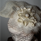 Oriental Grace...Bridal Wedding Head piece Fascinator Fan Cream Lace Satin LUXE