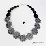 Hippy Heart Flower Black White - Buttons Necklace  - Jewellery - Bonus Earrings