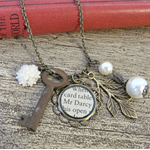 Mr Darcy Charm Necklace Cream Jane Austen Skeleton Key Vintage Pride Prejudice