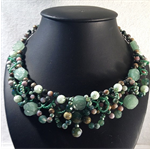 Rainforest Green necklace -  tiara shaped