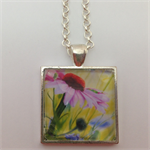 Necklace Pendant Echinacea Flower Art work Painting