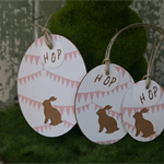 3 Bunting Kraft Bunny Tags ~ Baby Shower ~ New Baby ~ Ready to Post
