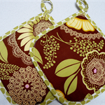 Pot Holder - Brown and green lace - Amy Butler Lotus set of 2