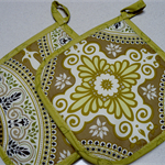 Pot Holder - Olive green Moroccan look circles - set of 2