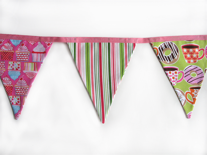 Cupcakes Amp Donuts Retro Pink Flag Bunting Girls Party