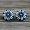 Buy 2 pairs and get third set free (Fabric button studs only). Geometric flower