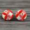 Buy 2 pairs and get 3rd set free (Fabric button studs only). petals pink/orange