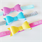 Leather Look Bow Headband Set - Fuchsia Yellow & Turquoise - Glitter Band