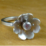 Sterling silver & cubic zirconia flower ring