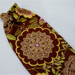 Plastic Bag Holder - brown and green lace floral Amy Butler Lotus Grocery