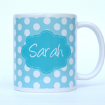 Personalized Mug-Turquoise White Polka Dots