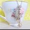 Jane Eyre Charm Necklace Pastel Pink Pearls Vintage Key Bronte Silver Boho