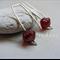 Argentium Sterling Silver range - ruby red Czech glass bead earrings
