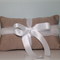 Ring Bearer's Pillow. Wedding Ring Pillow in Coffee with White Tulle & Satin
