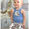 Baby Boy Shorts & Singlet Set - Hot Air Balloons - Blue SInglet - Badge Button