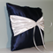 Ring Bearer's Pillow. Wedding Ring Pillow. Ring Cushion. Navy & White Satin