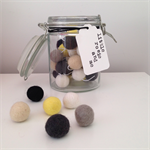 Felt Ball Garland Creme Caramel in White, Sand, Yellow, Taupe, Off-Black, Black