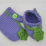 Baby Girl Mary Jane crocheted booties - lavender with dark lime green trim