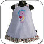 SIZE 1 Mauve Wide Corduroy Applique Embroidered Pinafore - Seahorse