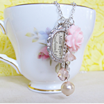 Jane Eyre Charm Necklace Pastel Pink Pearls Vintage Key Bronte Silver Boho