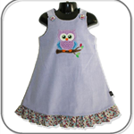 SIZE 4 Mauve Wide Cord Pinafore - Owl