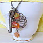 Anne Shirley Charm Necklace Orange Anne of Green Gables Vintage Key Montgomery