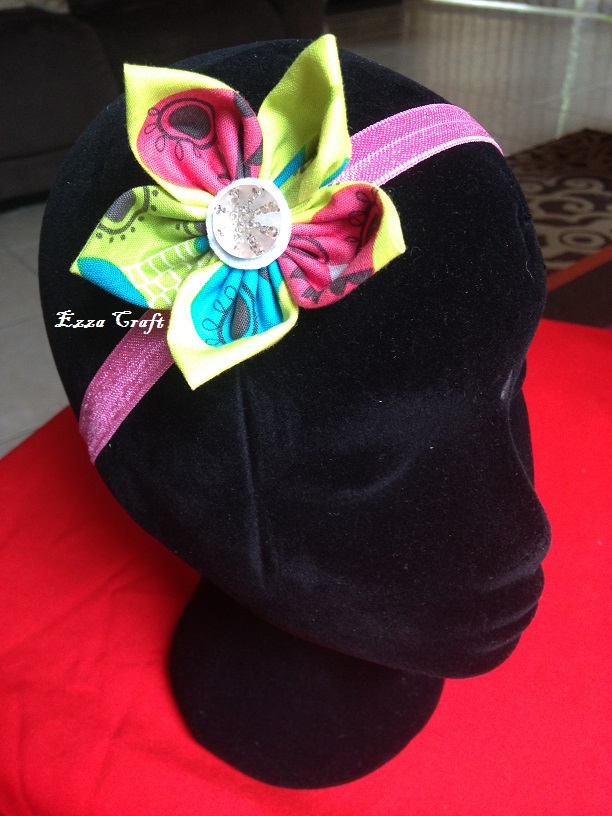 Fabric Flower Headband Pink Green Blue Ezza Craft