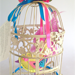 Whimsy bird in vintage cage felt bird with real feather tail !