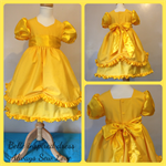 Girls Belle princess dress costume yellow party ruffle bow size 3
