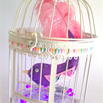 Whimsy bird in vintage cage with lights! felt bird with real feather tail.