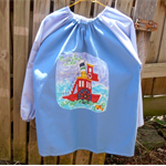 Age 9-12 years. Art smock with Paddle boat: (upper primary school)