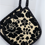Pot Holders reversible - Black and beige roses - set of 2