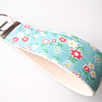 Wristlet Key Fob Chain - Teal / Emerald Green Vintage Flower