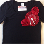 Red/Black size 12 one of a kind embellished T-Shirt (Ladies)