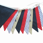BOYS Star Navy Denim Blue, Red & White Flag Bunting. Party Banner Decoration