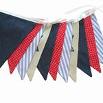 BOYS Star Navy Denim Blue, Red & White Flag Bunting. Party Banner Decoration