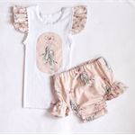 Girl singlet and nappy cover set size 000 to 2 - ballet shoes