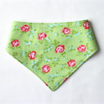Pink Roses on Green Bandana Dribble Bib Bamboo Backed