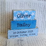 Custom Birth Name Block Set ~ Nautical Theme