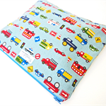Ex-Large Zippered Wet Bag Pouch Nappy Wallet - Working Cars (Dusty Blue)