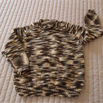 SIZE 3 - 4 Hand knitted childs jumper in green, brown & gold tones; ooak