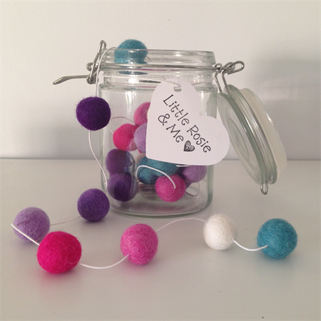 Felt Ball Garland in Mint, White, Pink, Hot Pink, Lilac, Violet, Purple