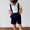 Boys Pants with Braces. Navy Blue Linen Size 4