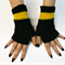 Richmond Crochet Fingerless Gloves, Winter Gloves Black Yellow Tigers AFL Footy