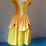 Girls Belle princess dress costume party ruffle bow size 7 yellow