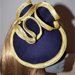 Simplicity Swirl. SALE  navy blue felt swirls yellow races 2-way Fascinator