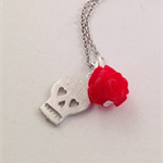 Tiny Skull and Rose Pendant Necklace - Gift for Her - Alternative Chick