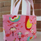 Girls small bag - Pink Birds and Birdhouses