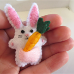 Rabbit with a carrot - miniature felt bunny with vegetable - Easter