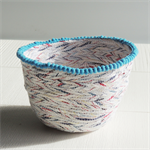 Decorative fabric bowl, container, vessel, Blue pom poms, Easter eggs
